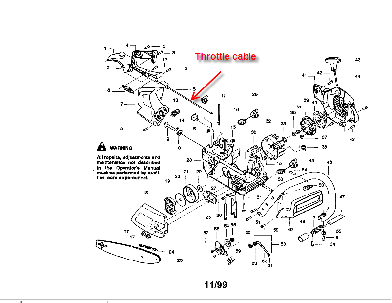 poulan chainsaw throttle cable diagram