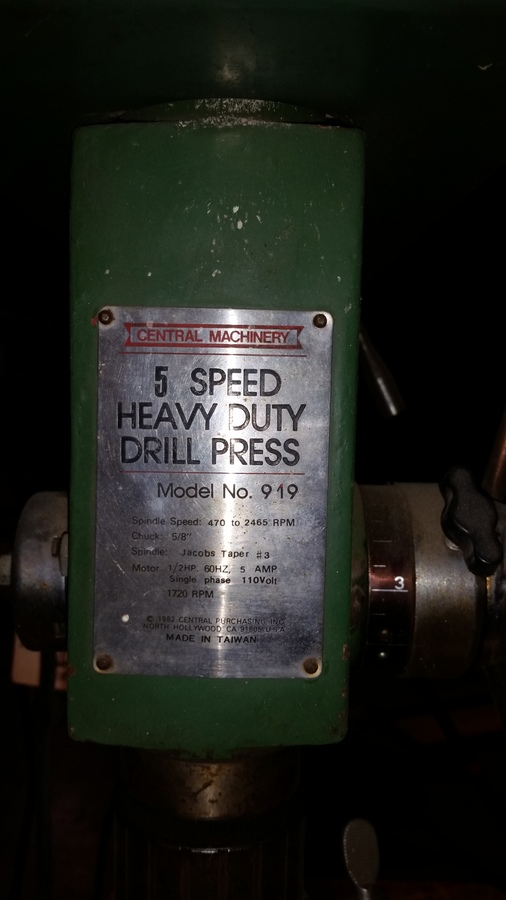 Central Machinery Model 919 Drill Press Diy Forums