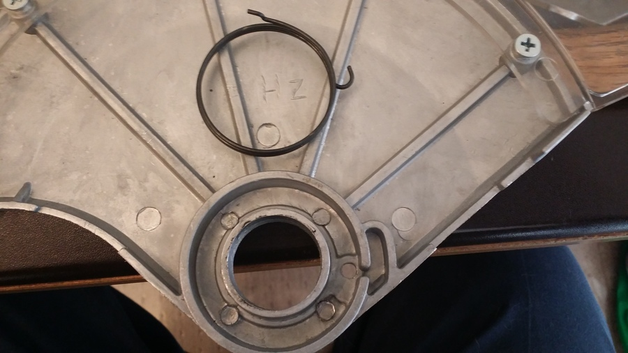 Blade guard circular spring in chicago electric 12 miter saw i assume the shepherd hooked end goes in the slot but i see nowhere to place the angled end to put the other end of the spring under tension any ideas keyboard keysfo Images