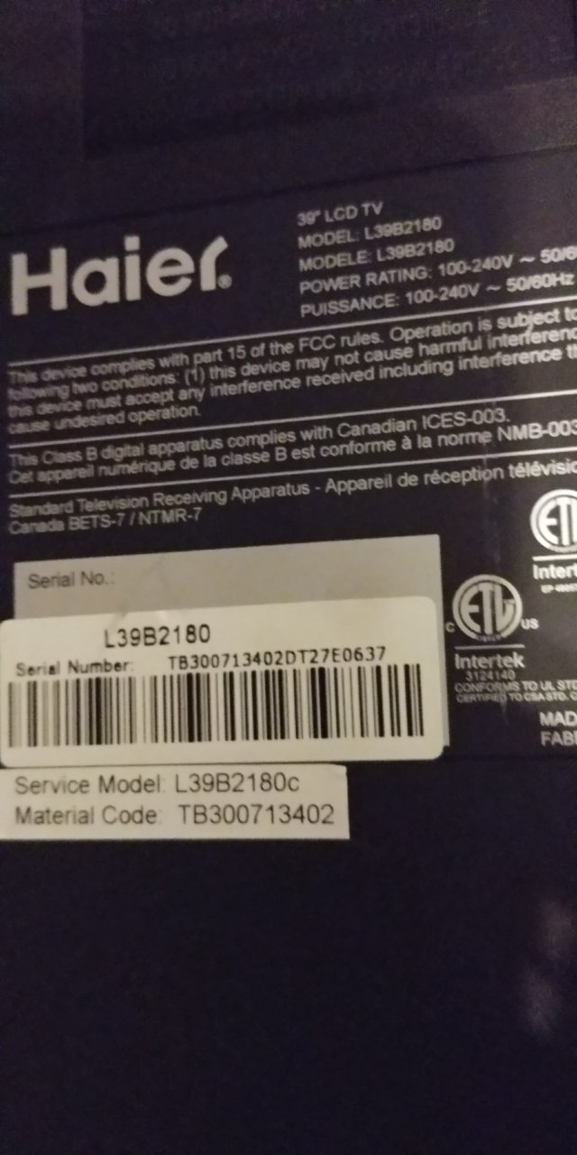 Haier TV Will Not Turn On  | DIY Forums