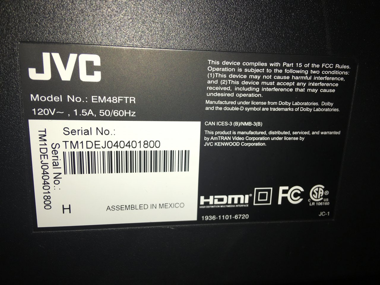 JVC TV WONT TURN ON | DIY Forums