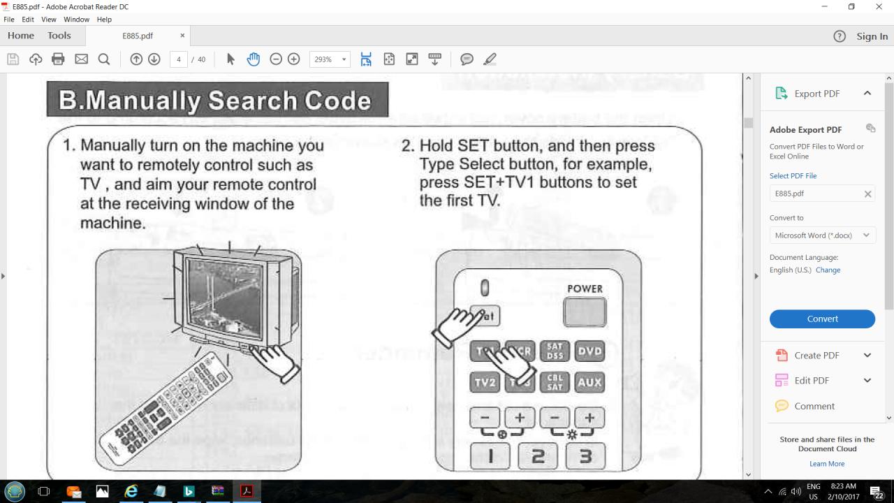 How Do I Program Chunghop E885 Universal Remote To Akai