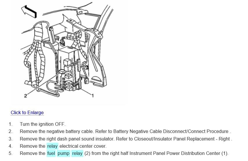 Fuel Pump Relay Location V