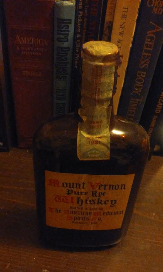 unopened 1921 100 proof mount vernon pure rye whiskey bottled in