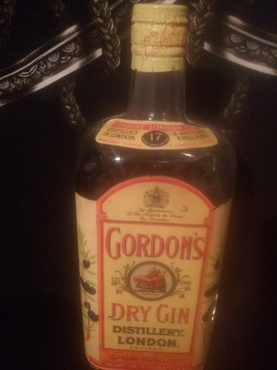 Old Bottle Of Gordons Dry Gin About Fifty Years Old Drinks Planet