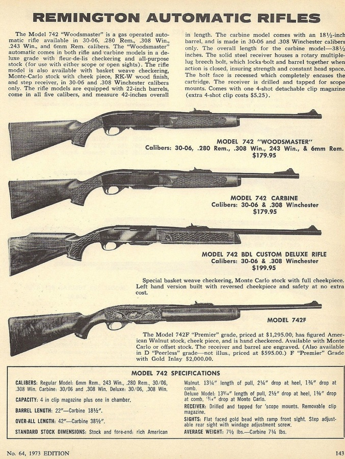 What Was The Cost Rem  Wood Master 30-06 742 In 1973 Bought