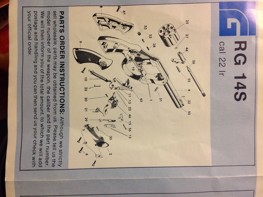 I Am Looking For A Diagram For A Mod Rg 25 Cal 22lr Rg Ind Please Help