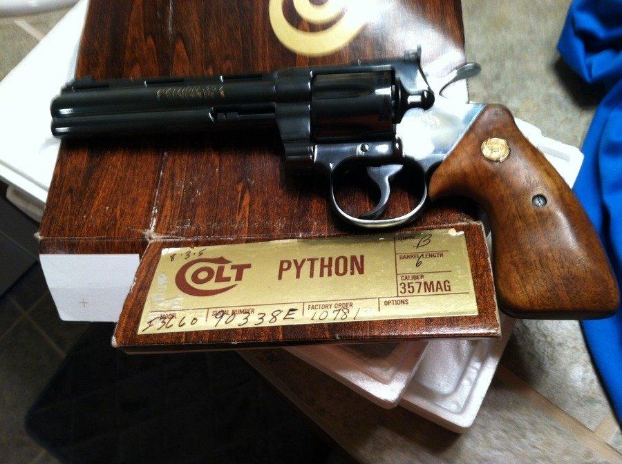1978 Colt Python  357 Mag 6 Inch Barrel W/ Blue Finish, With Box